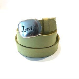 Levi's Green Leather Logo Buckle Belt